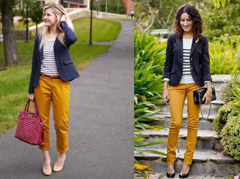 чиносы оранжевые под синий пиджак