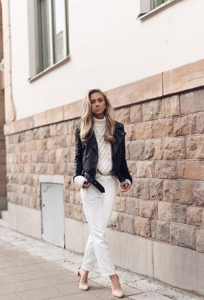 чиносы белые под кожаную куртку