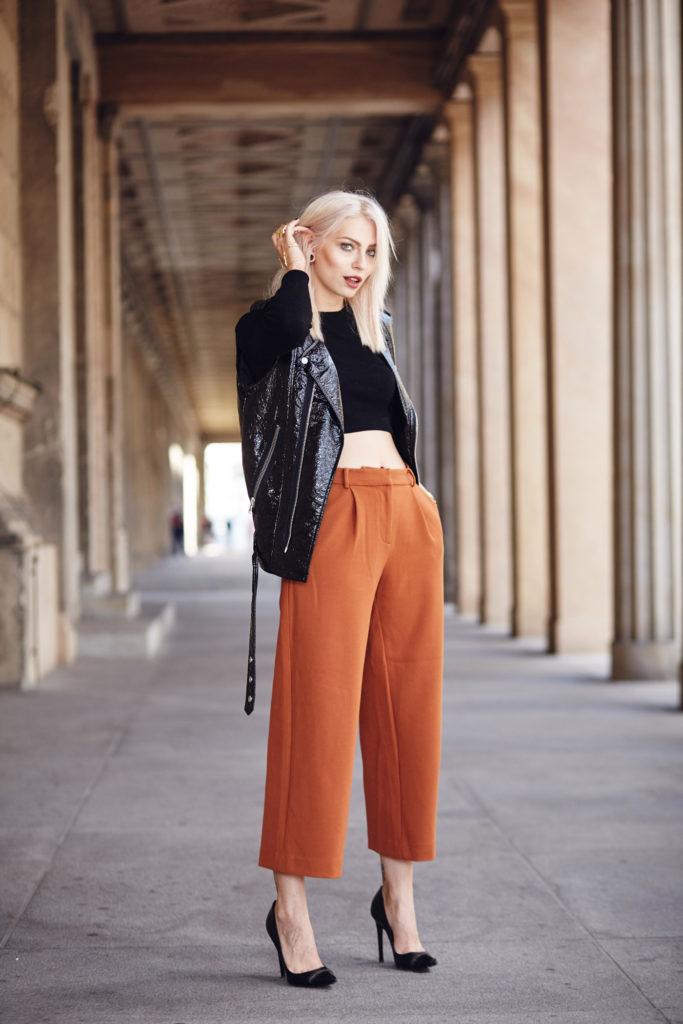 с чем носить кюлоты теплые оранжевые женские