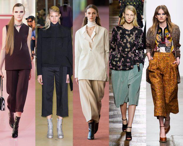 с чем носить брюки кюлоты осень коричневые черные бежевые зеленые золотые