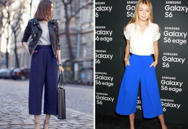 брюки кюлоты синие голубые с чем носить