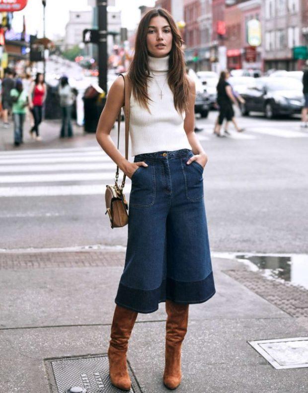 брюки кюлоты джинсовые с чем носить
