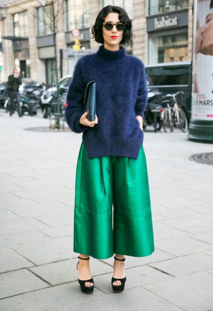 кюлоты зеленые с чем носить