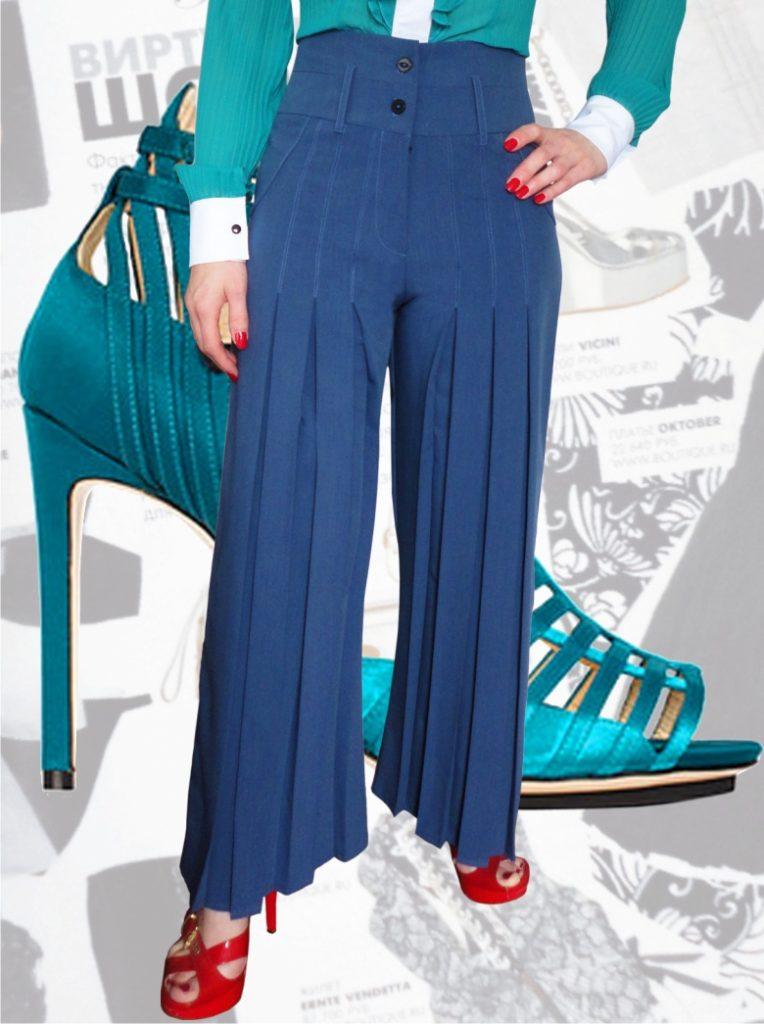 брюки с завышенной талией синие с пуговицами