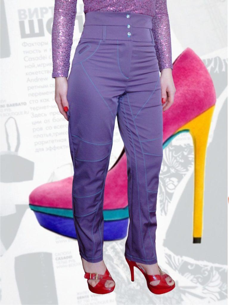брюки с завышенной талией сиреневые с пуговицами