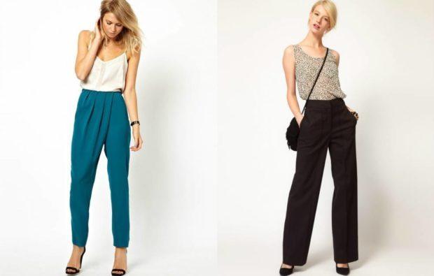 с чем носить брюки с завышенной талией: бирюзовые с запахом и черные