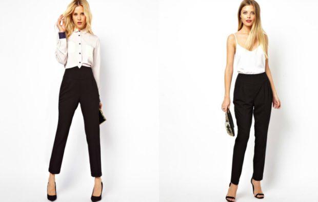 с чем носить брюки с завышенной талией:черные