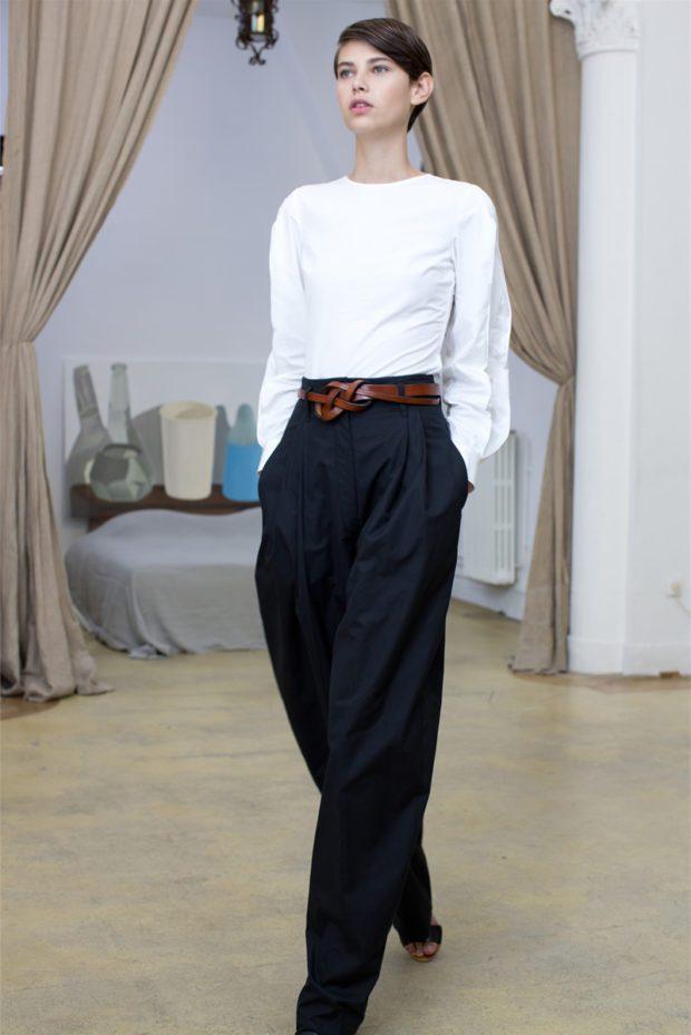 с чем носить брюки с завышенной талией: широкие черные с поясом