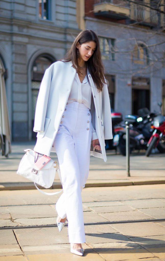 брюки с завышенной талией белые с пуговицами