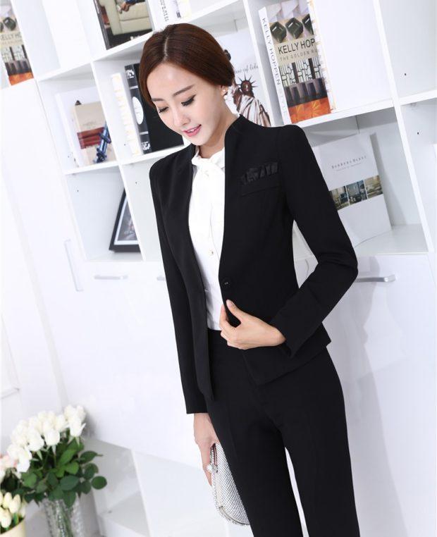 с чем носить брюки с завышенной талией: черные с пиджаком