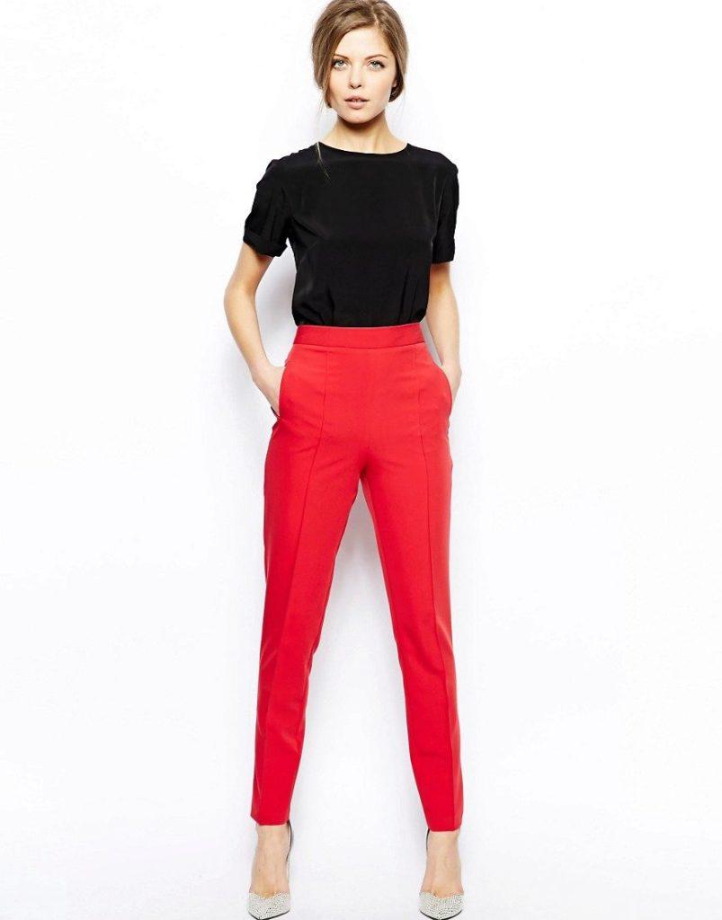 брюки с завышенной талией красные