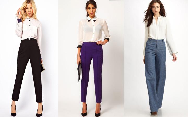 брюки с завышенной талией черные, сиреневые и синие