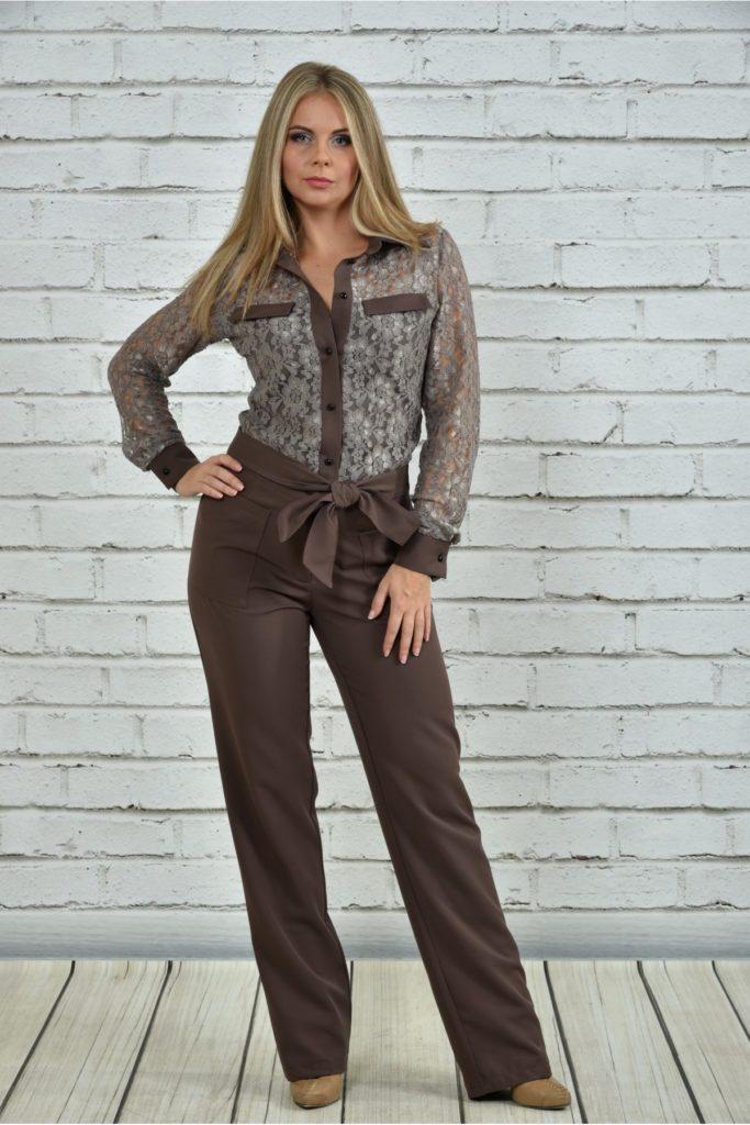брюки с завышенной талией коричневые с поясом