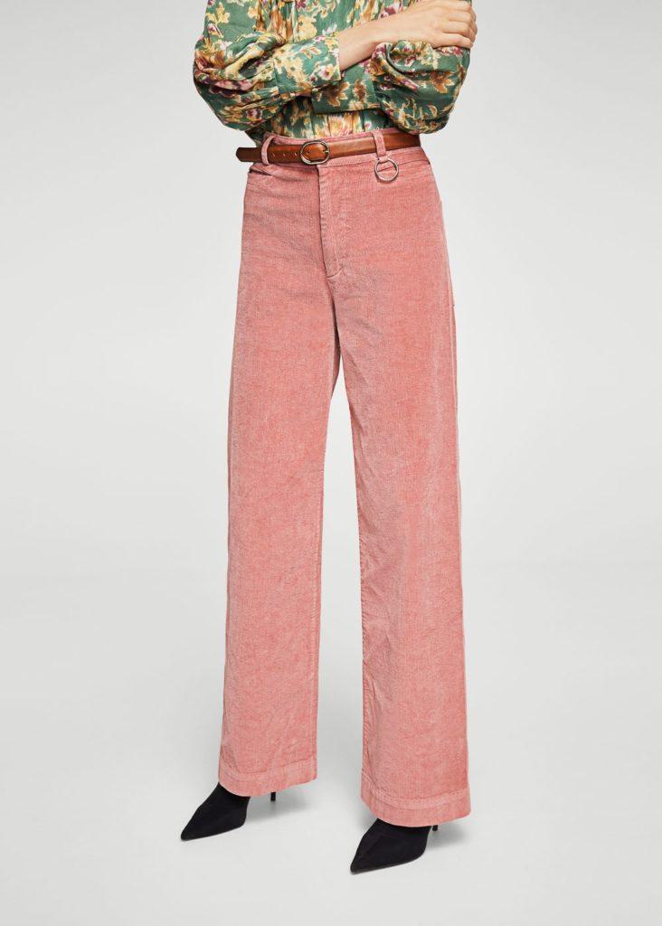 брюки с завышенной талией розовые с ремнем коричневым