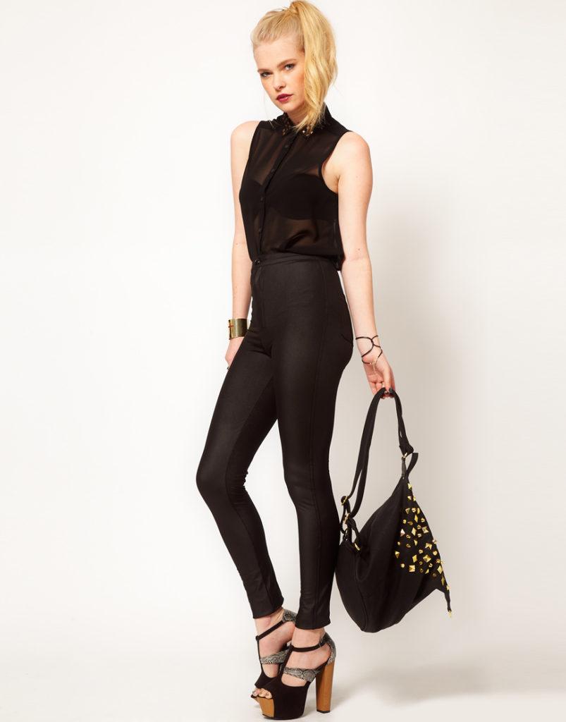 брюки с завышенной талией черные с блузкой