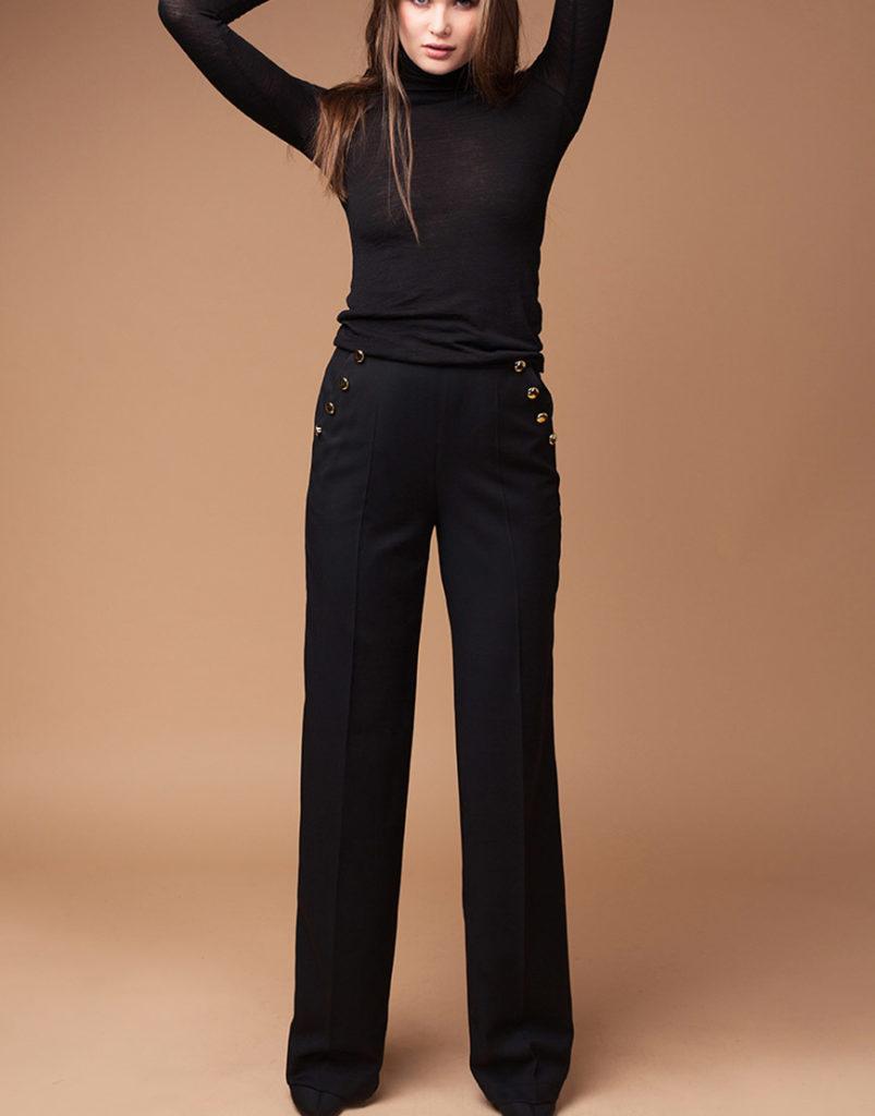 брюки с завышенной талией черные с пуговицами