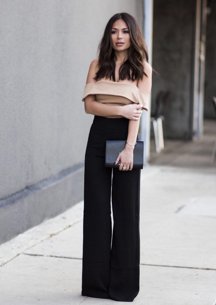 брюки с завышенной талией черные расклешенные