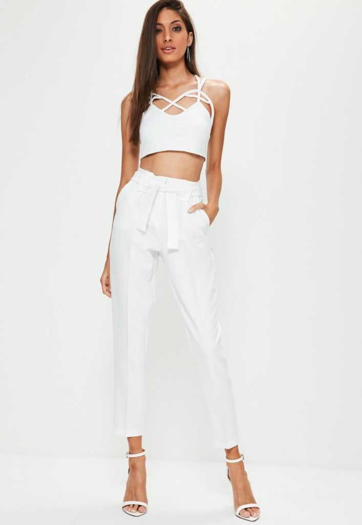брюки с завышенной талией белые с топом