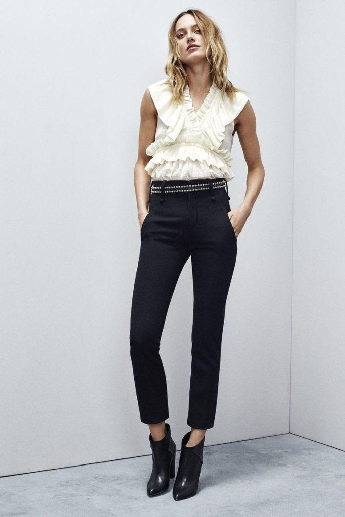 брюки с завышенной талией черные с ремнем