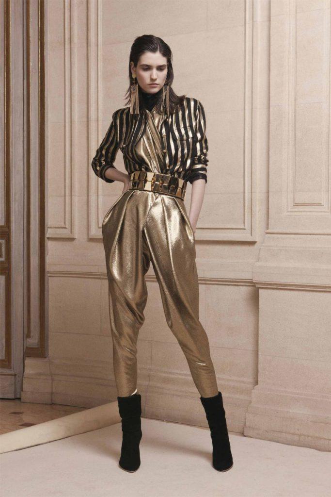 брюки с завышенной талией золотистые с поясом