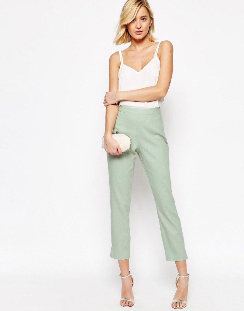 брюки с завышенной талией салатовые с топом