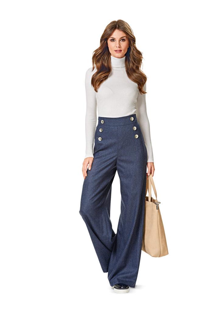 брюки с завышенной талией синие с пуговицами по бокам