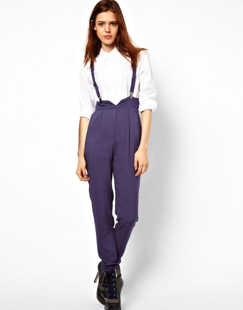 брюки с завышенной талией сиреневые с подтяжками