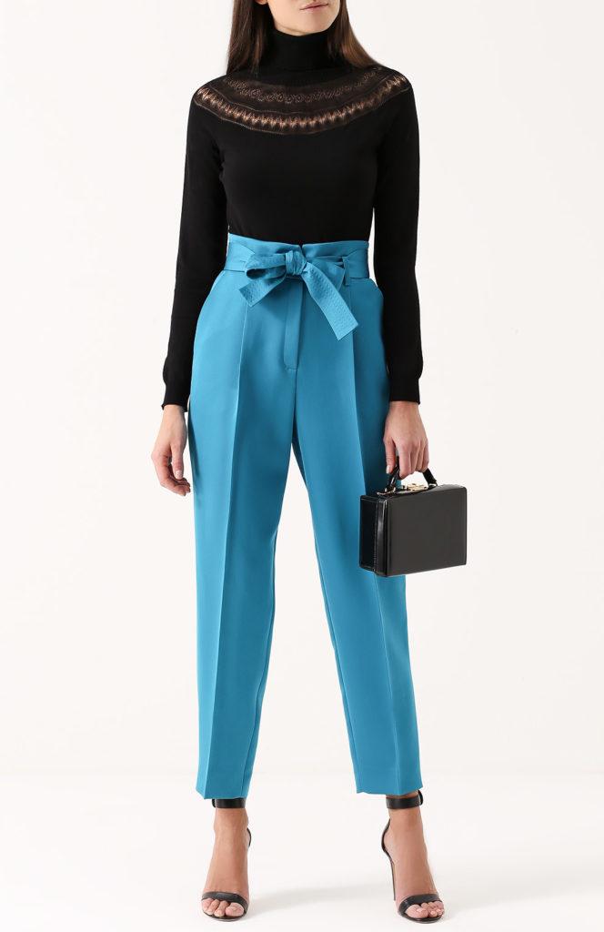 брюки с завышенной талией бирюзовые с поясом