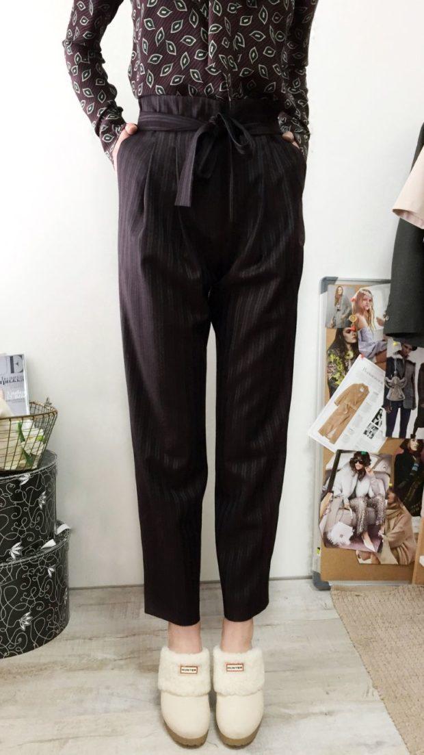 брюки с завышенной талией черные с поясом