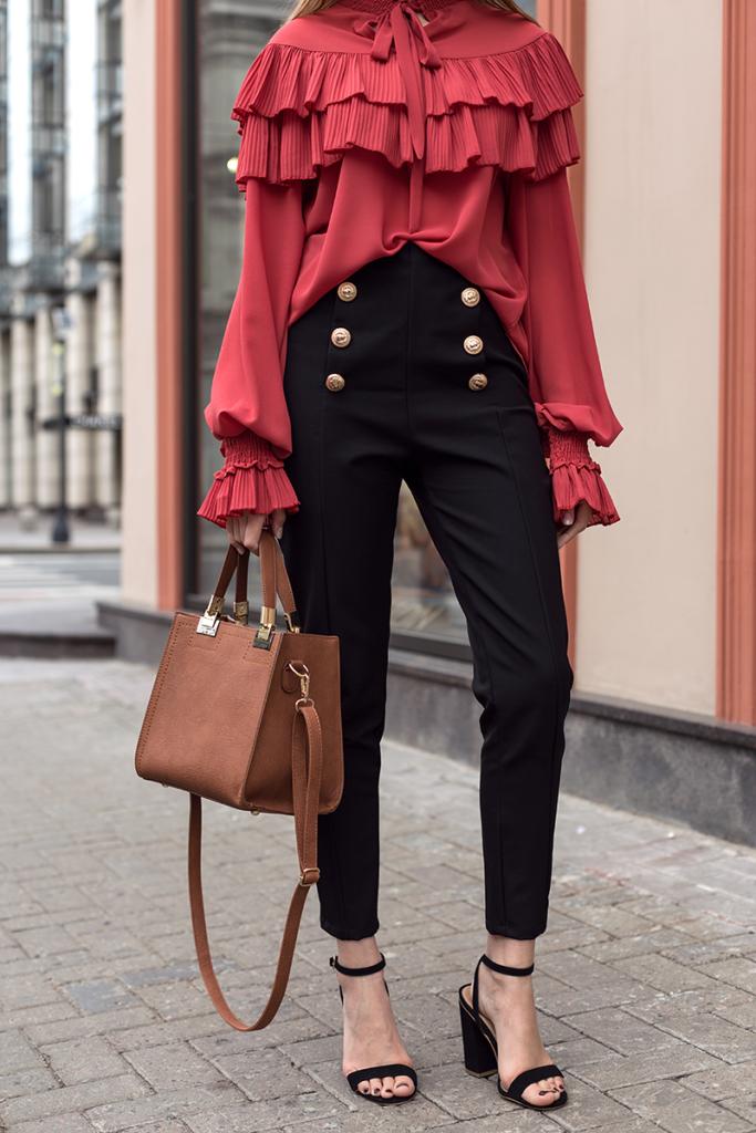 брюки с завышенной талией черные с пуговками