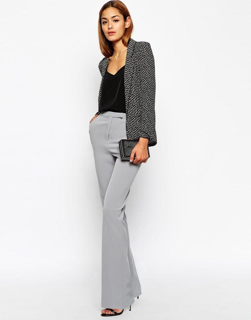 брюки с завышенной талией серые с поясом и пиджаком