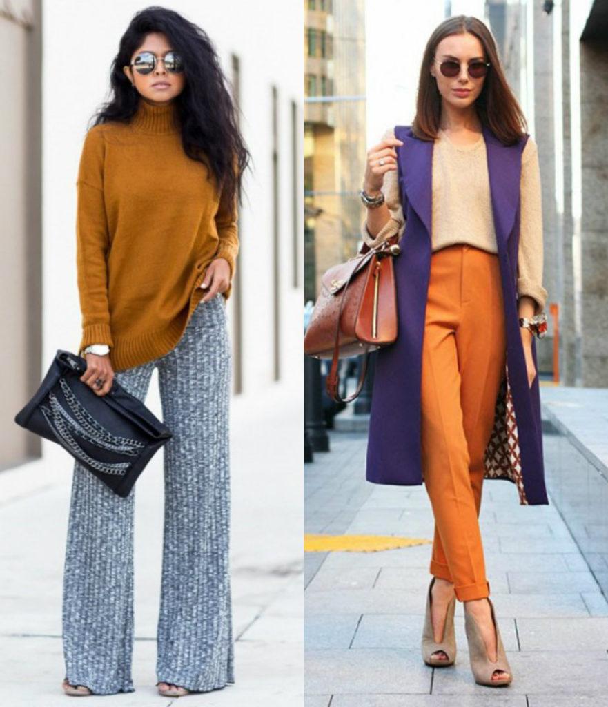 брюки с завышенной талией серые и оранжевые