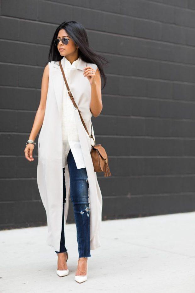 модные женские кардиганы: светлый длинный без рукава