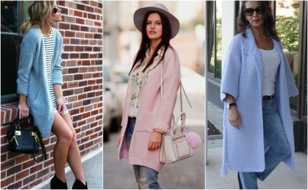 модные женские кардиганы: голубой розовый без застежки