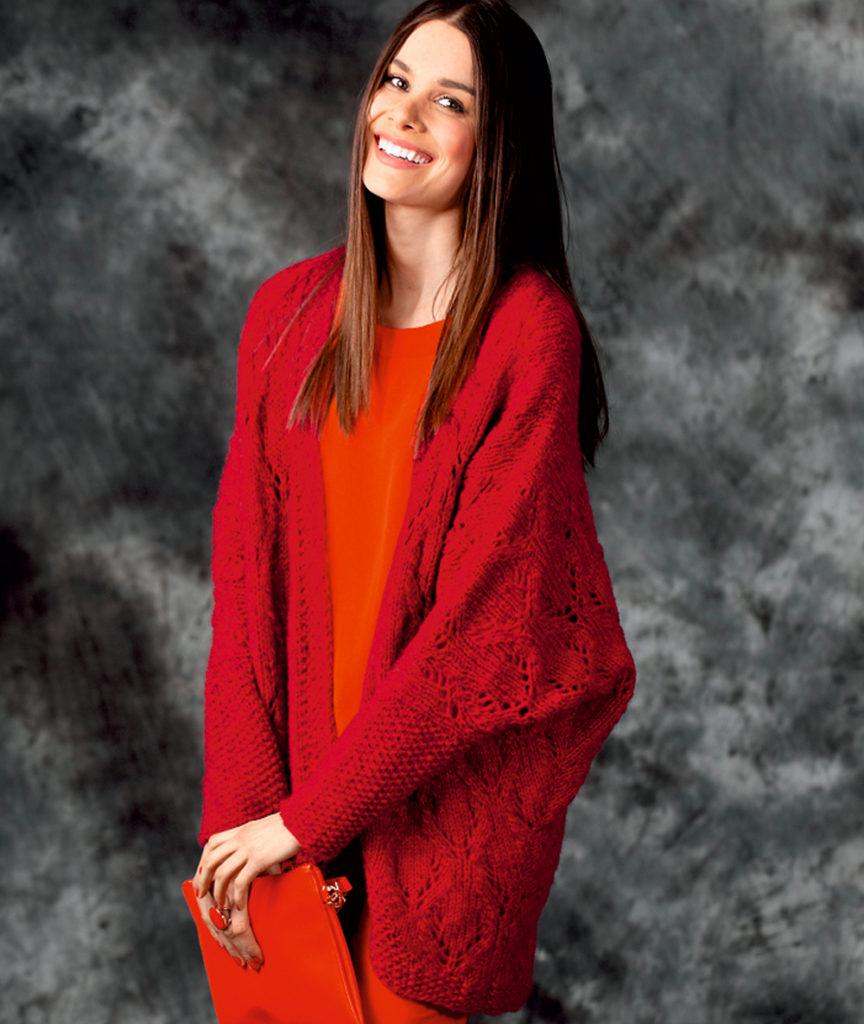 модные женские кардиганы: летучая мышь красный вязанный