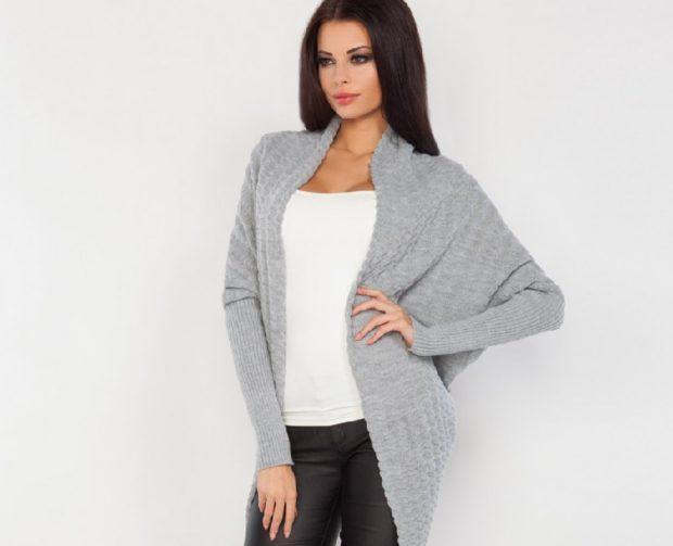 модные кардиганы 2021-2022: серый без застежки