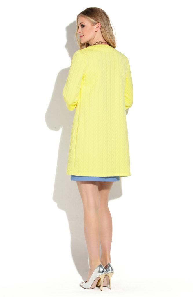 женский кардиган: трикотажный желтый