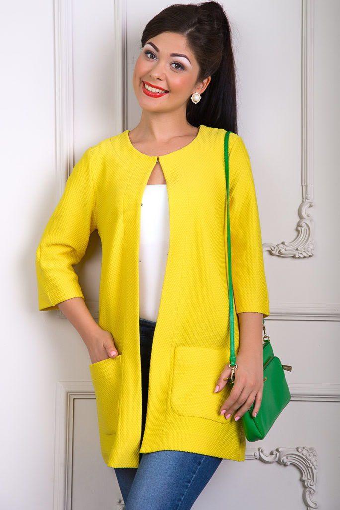 модные кардиганы 2021-2022: желтый с карманами