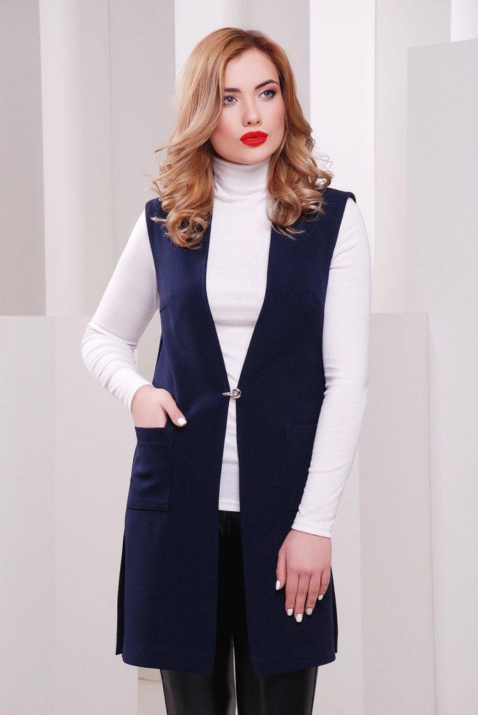 женский кардиган:: жилетка синяя с карманами на застежке