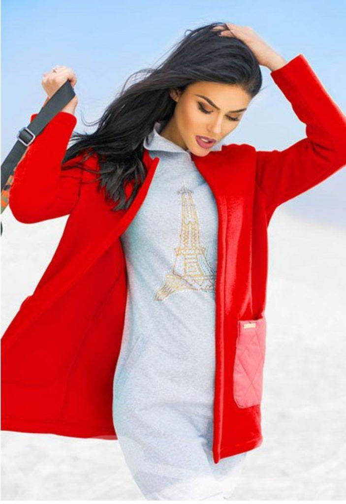 кардиган без застежки красный с карманами
