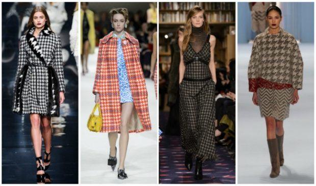 модные принты осень-зима 2019-2020: пальто в гусеницу черное с белым клетка красная комбинезон
