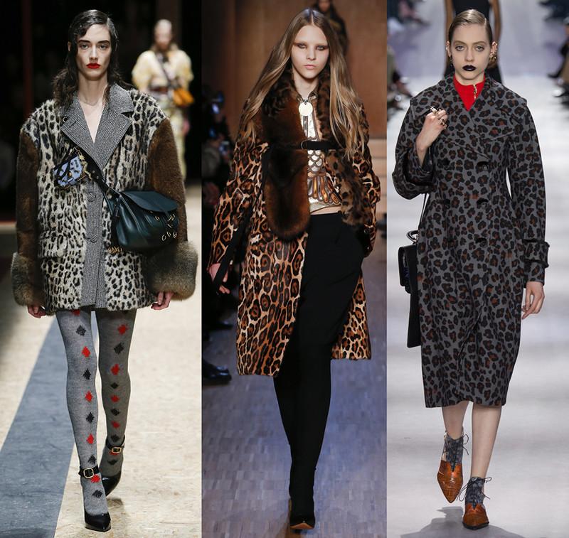 леопардовый принт: пальто короткие миди