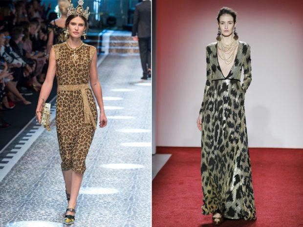 модные принты осень зима 2019-2020: леопардовый платья миди в пол