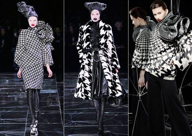 модные принты осень зима 2019-2020: гусиный юбка и кофта пальто пальто короткое