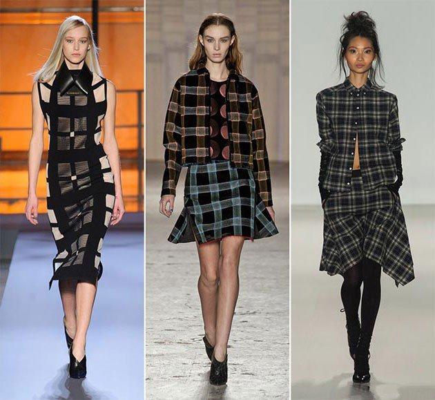 модные принты осень зима: клетка темная платье юбка пиджак короткие