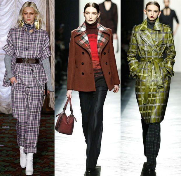 модные принты осень зима: клетка брюки рубашка пальто коричневое зеленое миди