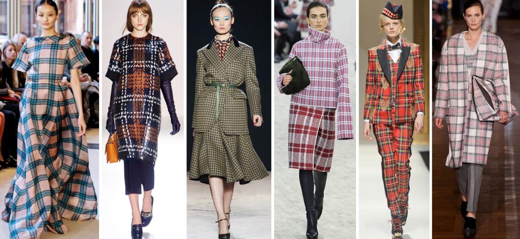 модные принты осень зима: клетка платье юбка рубашки брюки пальто цветные