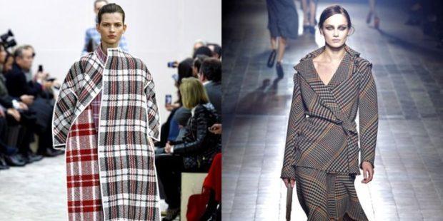 модные принты осень зима: клетка пальто пиджак с юбкой