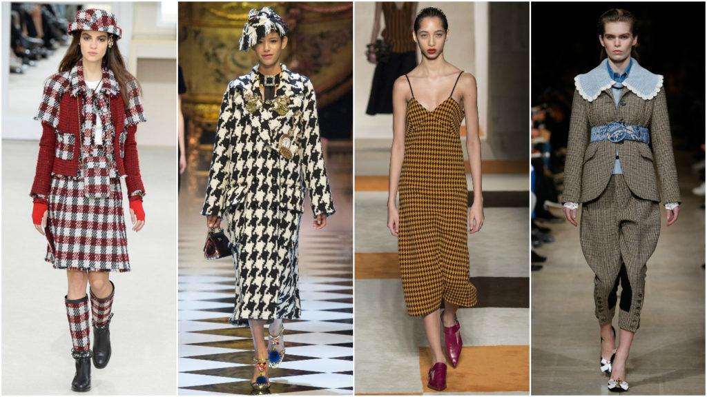 модные принты осень зима: клетка платья пиджак юбка миди платье