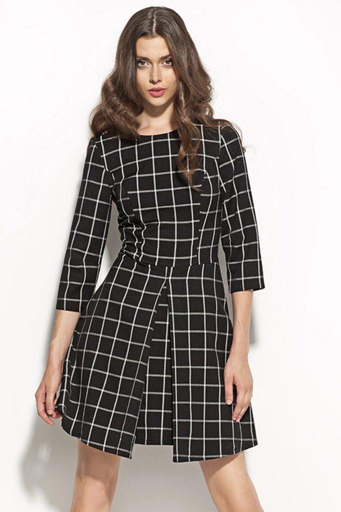 модные принты осень зима: клетка платье черная с белым